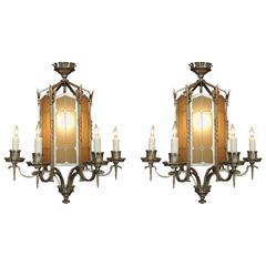 Pair of Early 20th C American Gothic Lanterns, attributed to Edward Caldwell