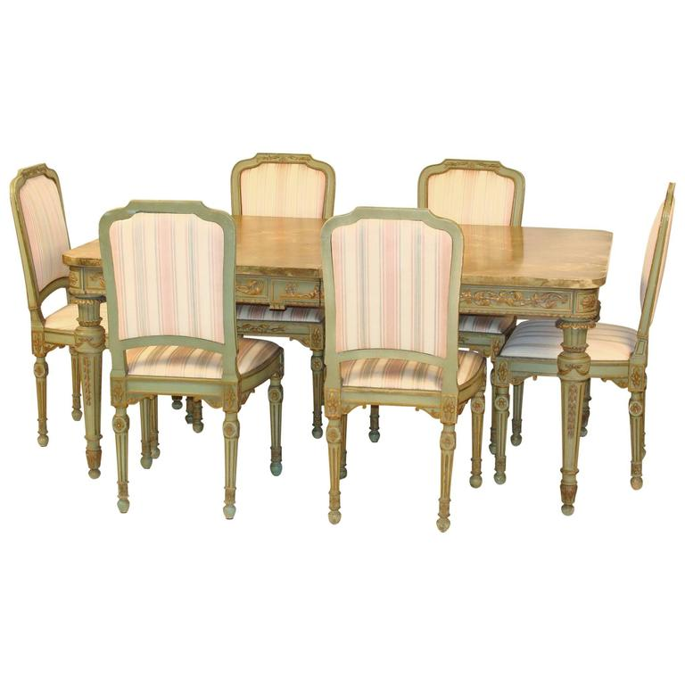 9 piece louis xvi style dining room set at 1stdibs for Dining room tables 9 piece