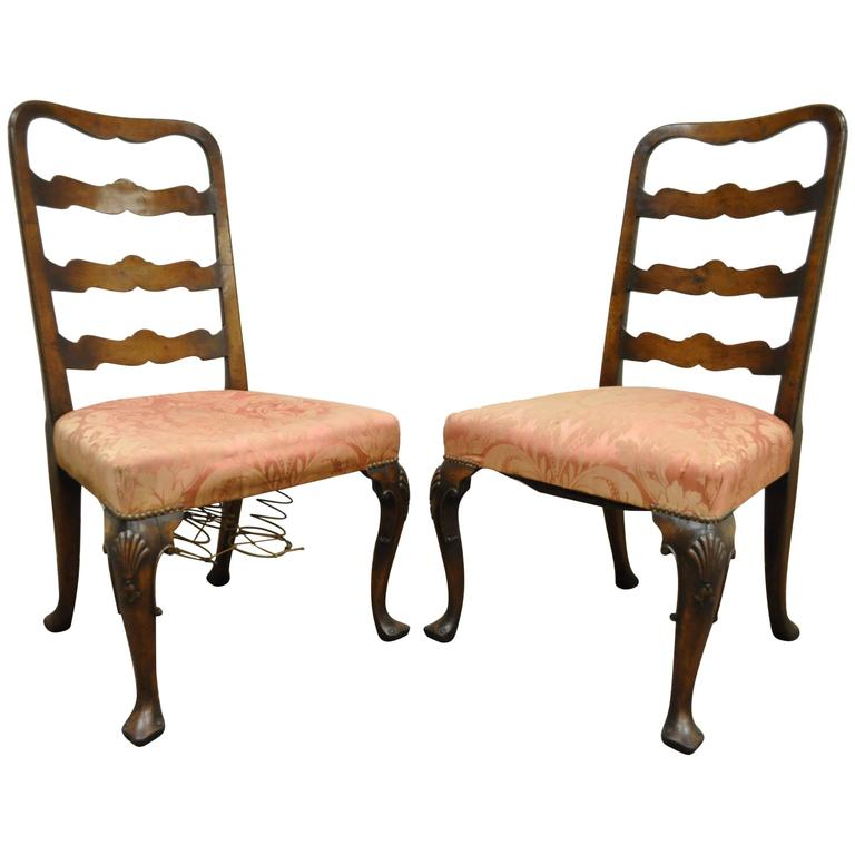 Pair of 18th C Hand Carved Walnut George II Ladder Back Dining Side Chairs For Sale