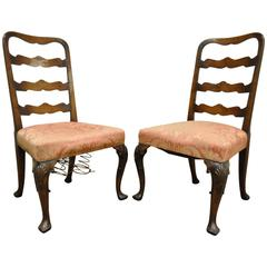 Pair of 18th C Hand Carved Walnut George II Ladder Back Side Chairs