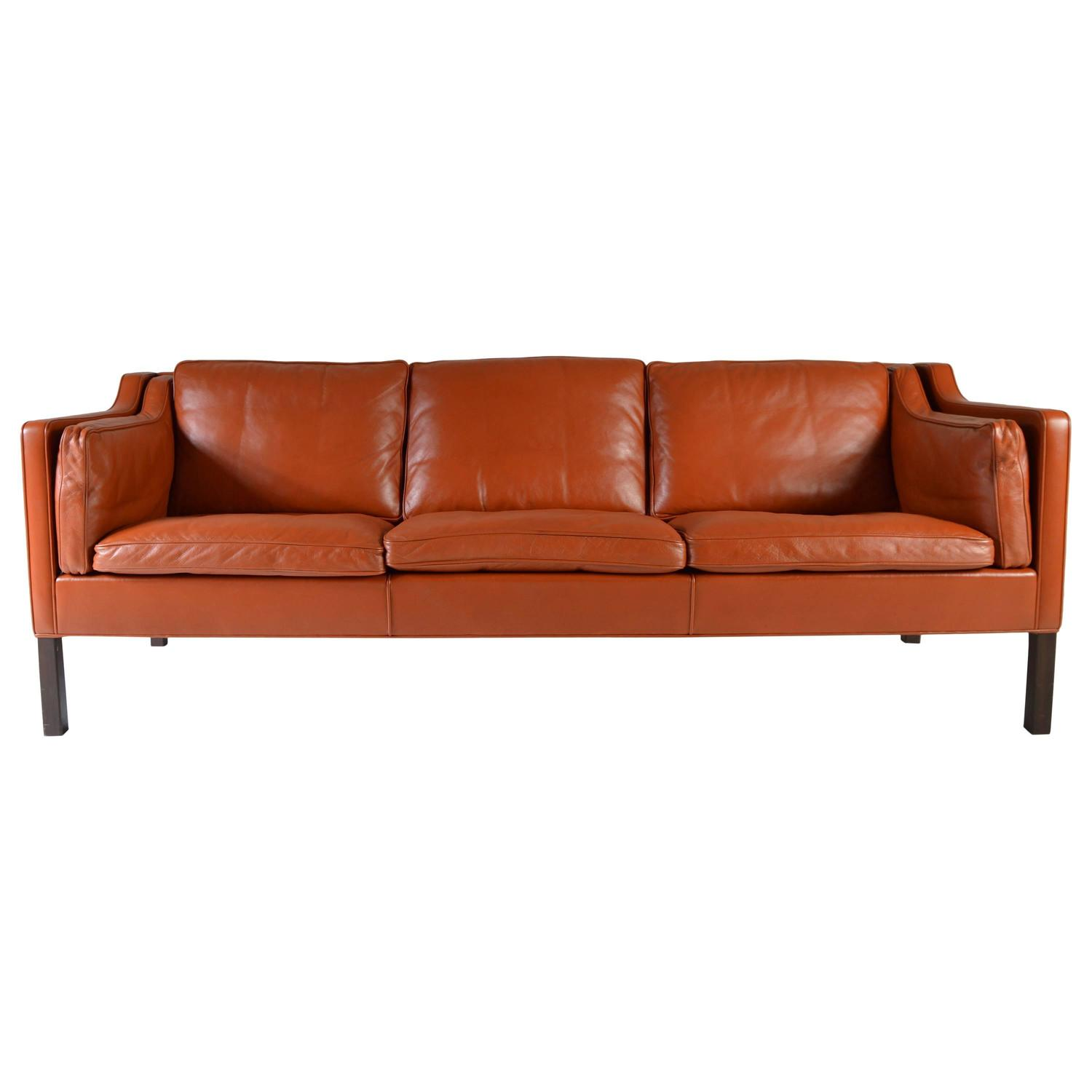 cognac leather sofa by b rge mogensen for fredericia stolefabrik at 1stdibs. Black Bedroom Furniture Sets. Home Design Ideas
