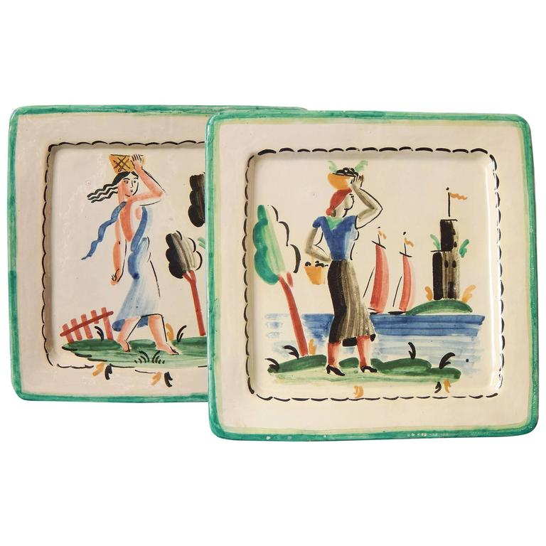 """Women with Baskets,"" Rare Pair of Art Deco Decorated Plates, Italy For Sale"