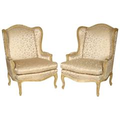 Pair of Louis XV Style Painted Bergeres