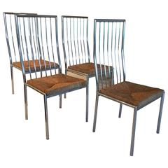 Midcentury Set of For Chrome and Rattan Italian Dining Chairs