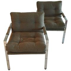 Pair of Milo Baughman Upholstered Lounge Chairs