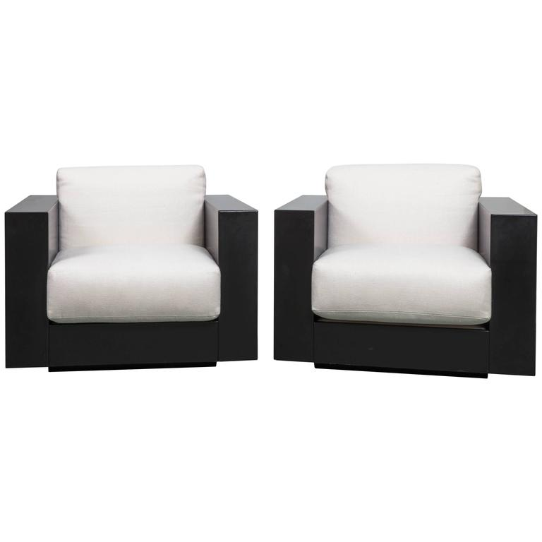 Pair Of Black Saratoga Lounge Chairs By Massimo Vignelli At 1stdibs