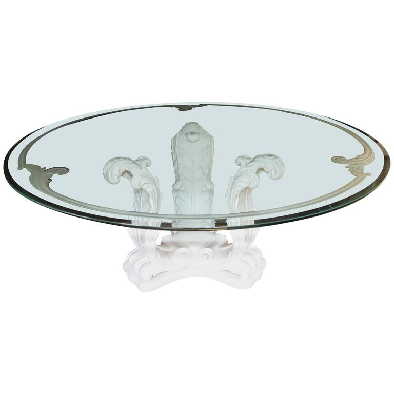 Acanthus Leaf Architectural Design Round Dining Table with Glass Top For Sale