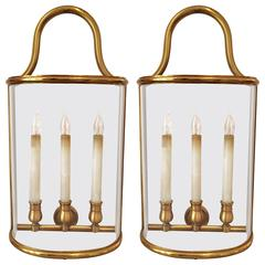 Pair of Exceptional Three-Light Bronze Wall Lanterns