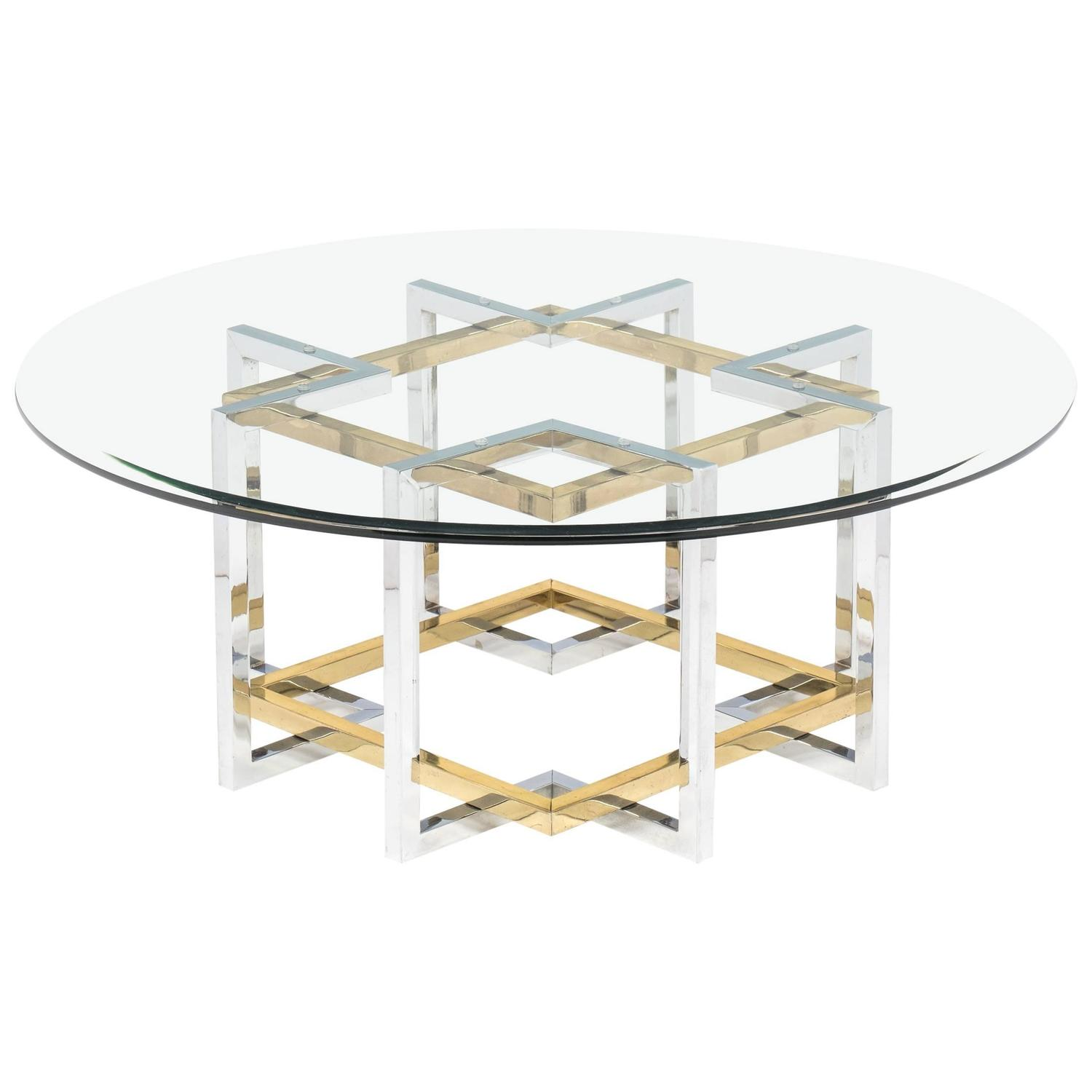 Mid Century Modern Chrome and Brass Coffee Table at 1stdibs