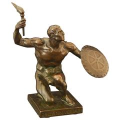 Rare Art Deco Bronze with Male Nude Holding Shield by Castiglioni, 1930