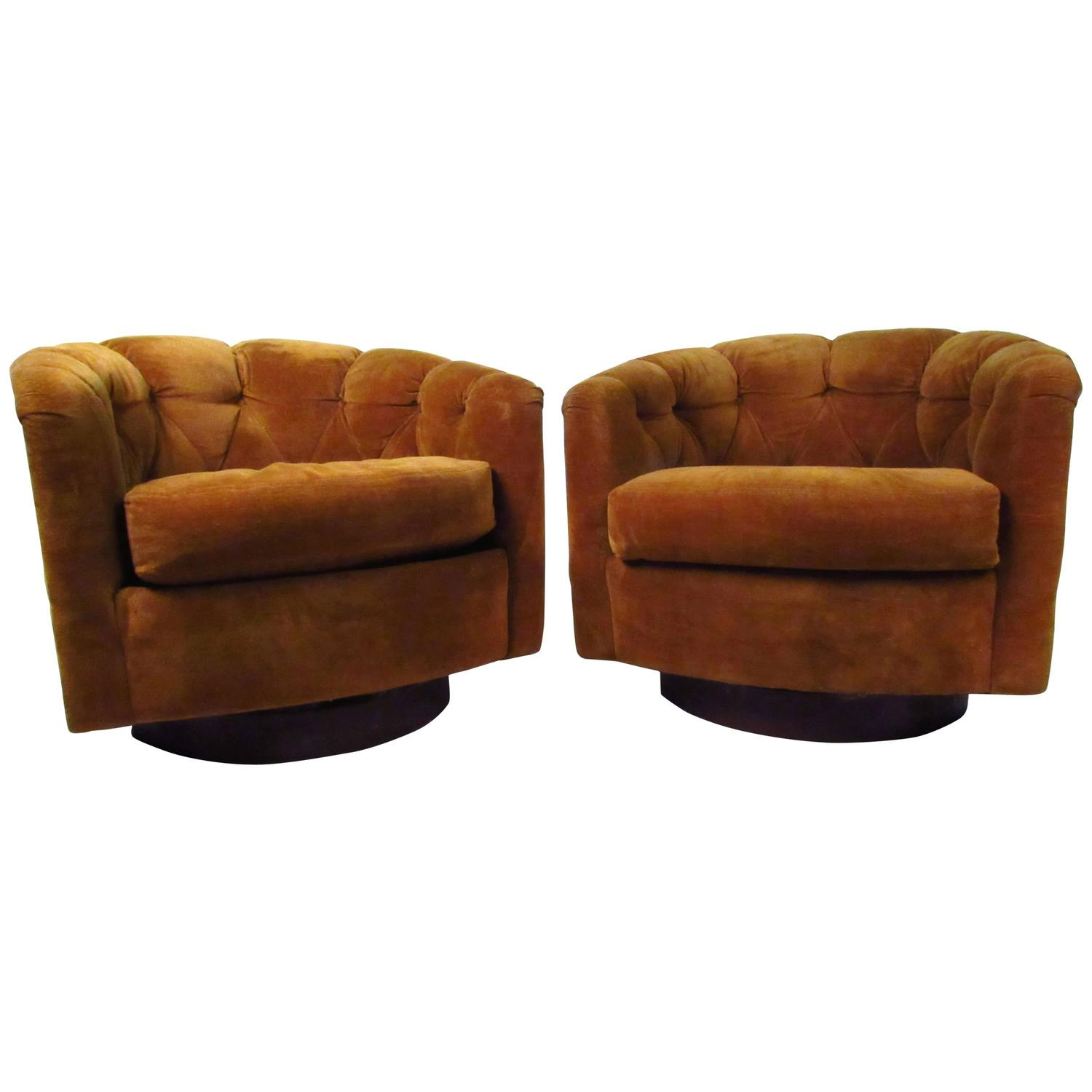 Pair of Mid Century Tufted Barrel Back Swivel Lounge Chairs by