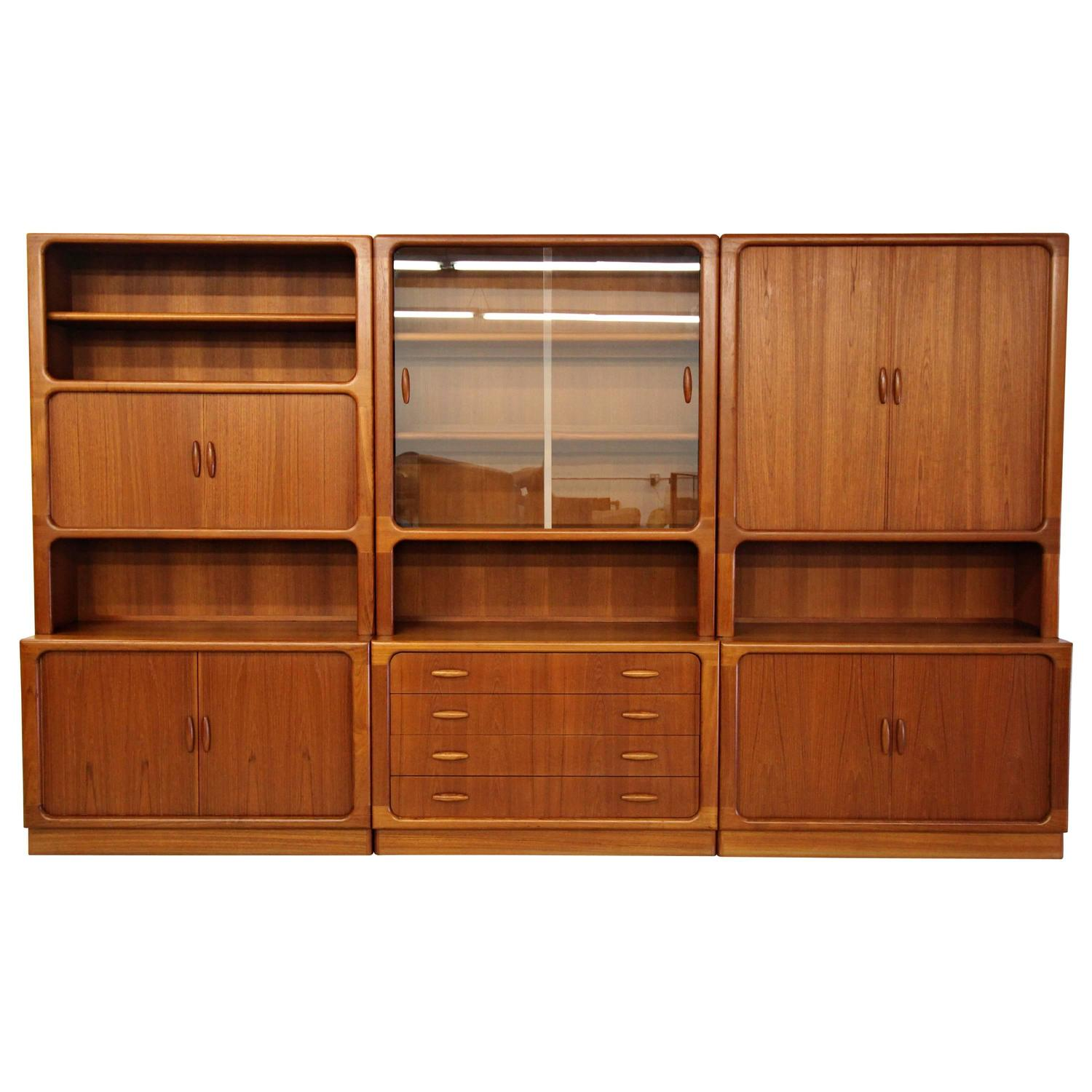 Set Of Three Midcentury Danish Teak Wall Unit Bookcase Shelving Units By  Dyrlund At 1stdibs