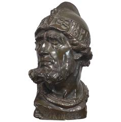 Original Bronze Viking Bust by Fritz Neuhaus