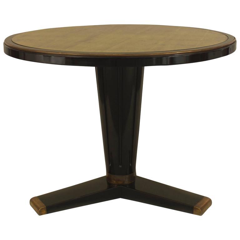 1940u0027s French Round Gilt Glass U0026 Ebonized Wood Center Table, ...