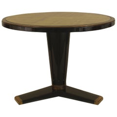 1940's French Round Gilt Glass & Ebonized Wood Center Table, by Jansen