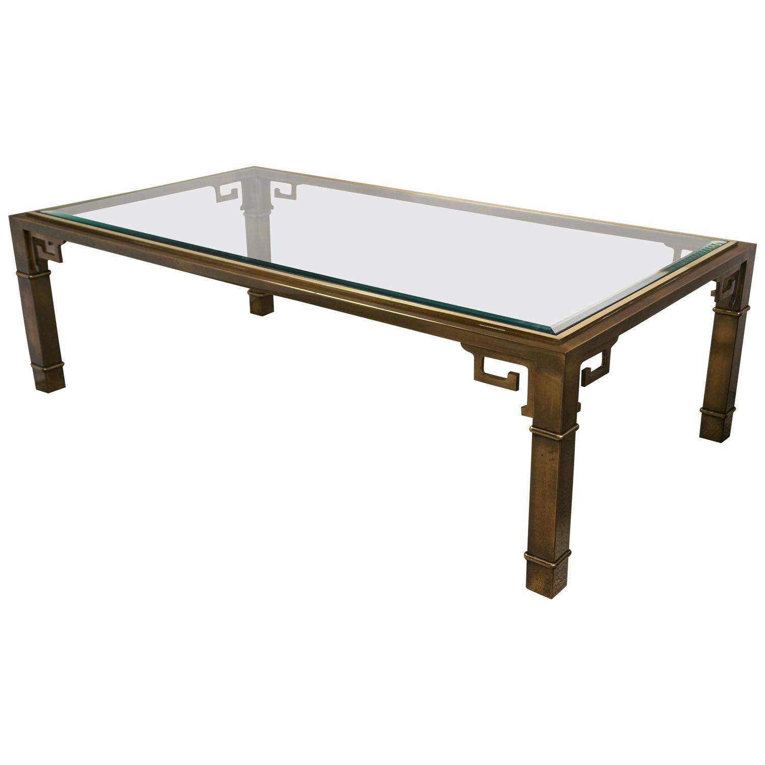 Coffee Table Brass Base And Glass Top For Sale At 1stdibs