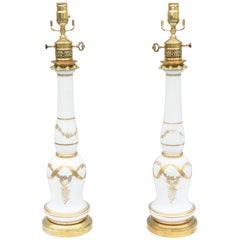 Pair of Empire Style Milk Glass Lamps with Hand Painted Gilding