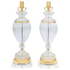 Pair of Baccarat Form Glass Urn-Form Lamps on Lucite