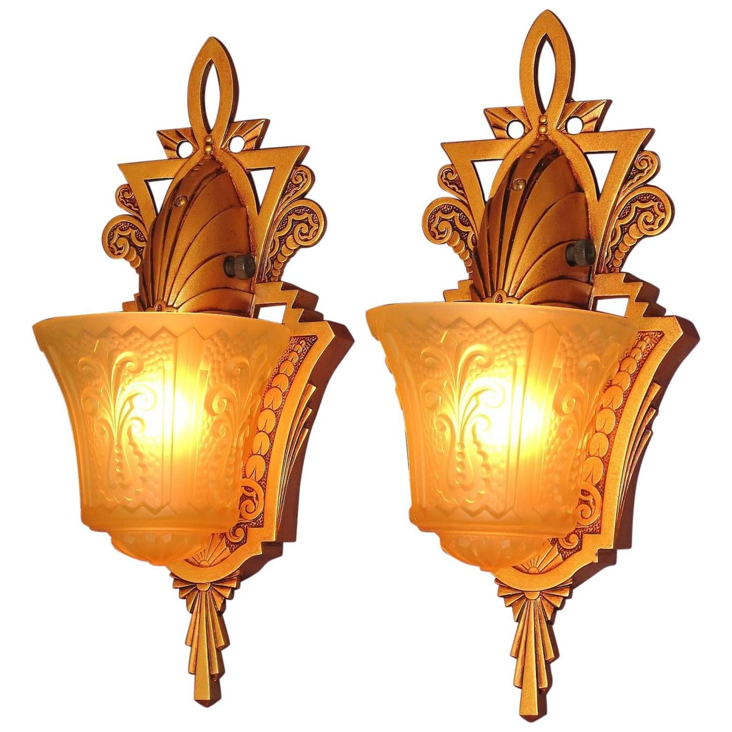 Pair of original beardslee art deco slip shade wall sconces for pair of original beardslee art deco slip shade wall sconces for sale at 1stdibs arubaitofo Image collections
