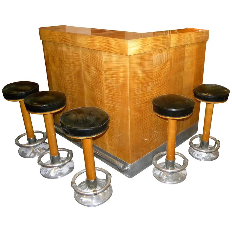 Art deco mid century blonde stand behind bar for sale at for Art deco bar furniture