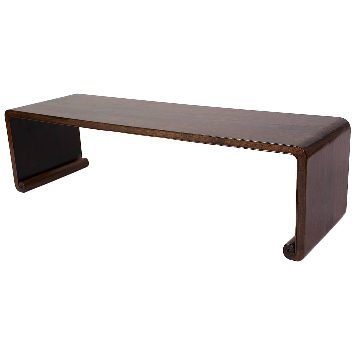 Elegant Simple Antique Chinese Qing Dynasty Walnut Bench Kang Side