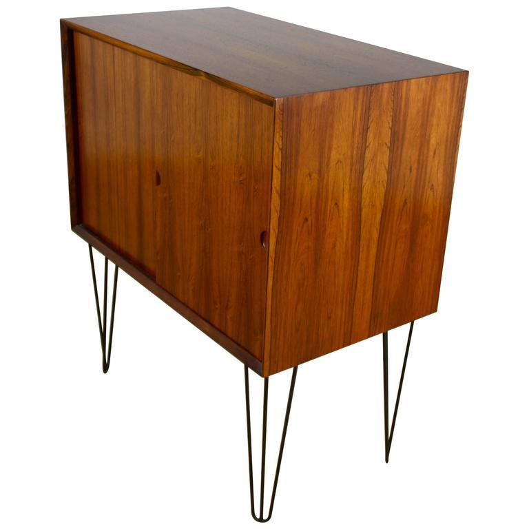 Mid Century Modern Design Rosewood Cabinet On Hairpin Legs