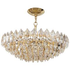 Tiered Brass and Crystal Chandelier