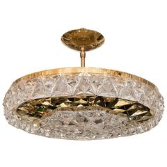 Round Polished Brass Ceiling Fixture with Facet Cut Crystal Surround