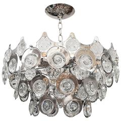 Chrome Inset Glass Element Chandelier