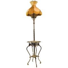 Brass Floor Lamp with Onyx Top
