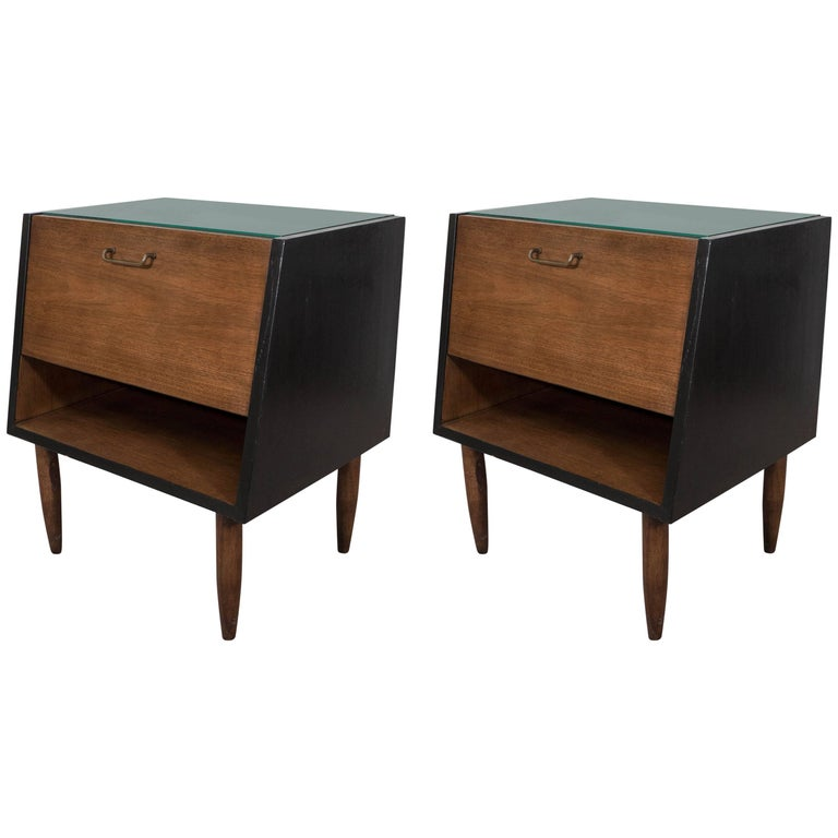Pair of Merton Gershun Dania Nightstands for American of Martinsville For Sale