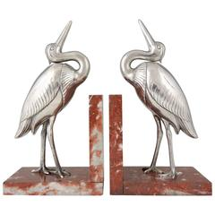 Art Deco Heron Bird Bookends by Irénée Rochard, France, 1930
