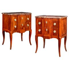 Pair of Late 19th Century Flame Mahogany Petits Commodes, Breakfront Form
