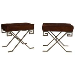 Pair of Mid-Century Benches Upholstered with Cowhide