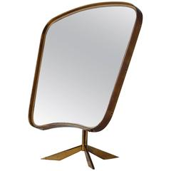 Brass console mirror on tripod foot, Germany, 1950s