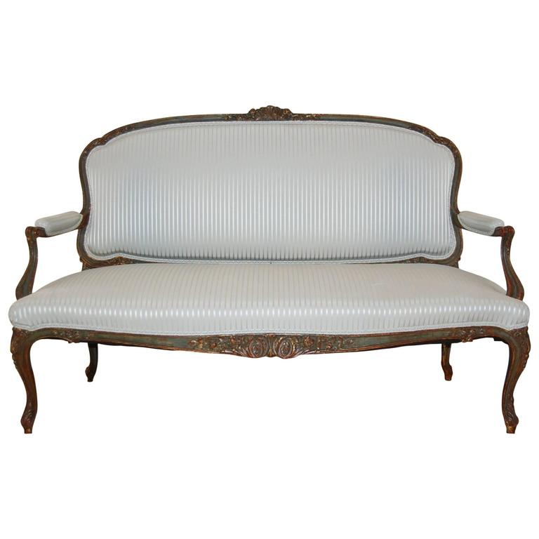 Mid-19th Century French Louis XV Style Painted Settee