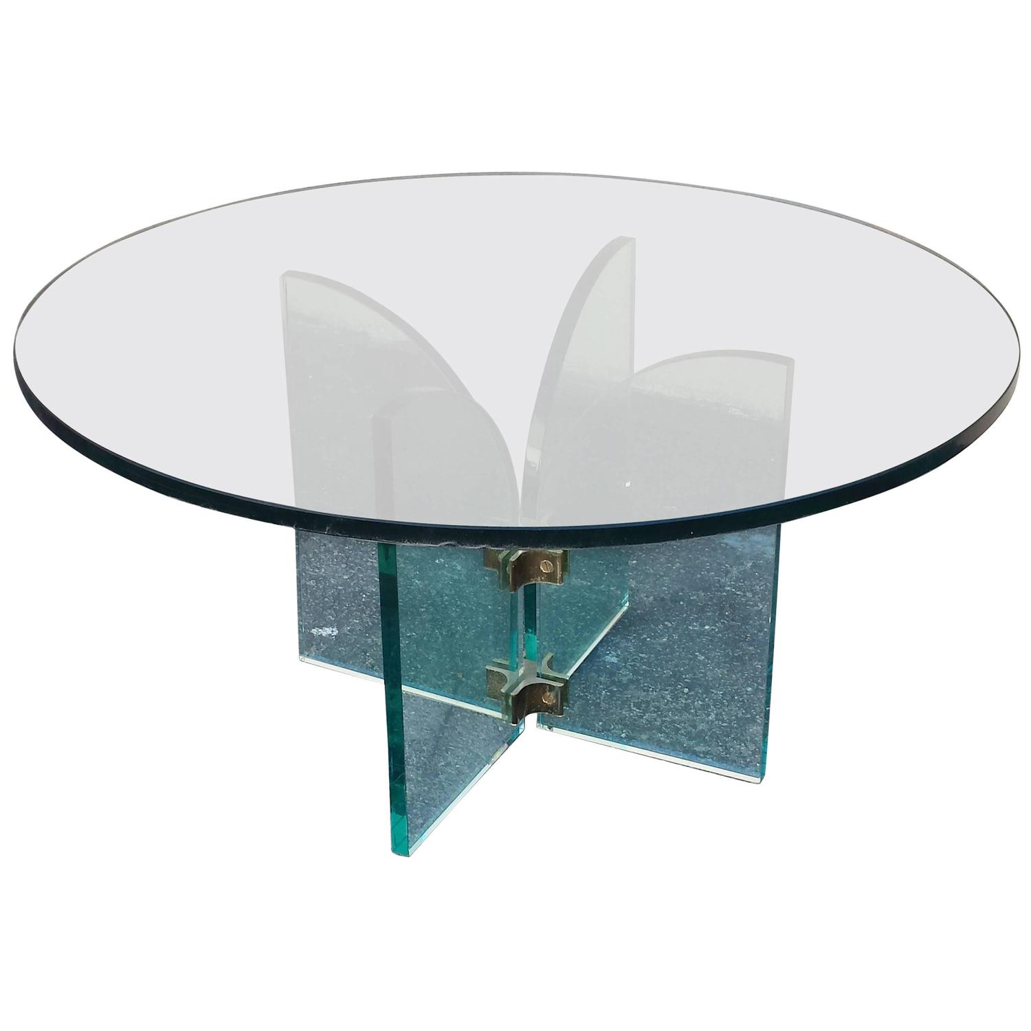 Coffee table mid century modern style round glass coffee for Round glass coffee tables for sale