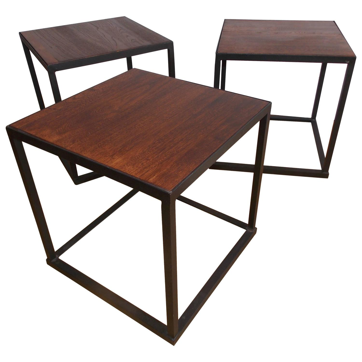 Hecho En Mexico Furniture Mexican Modern Rosewood and Iron Occasional Tables at 1stdibs