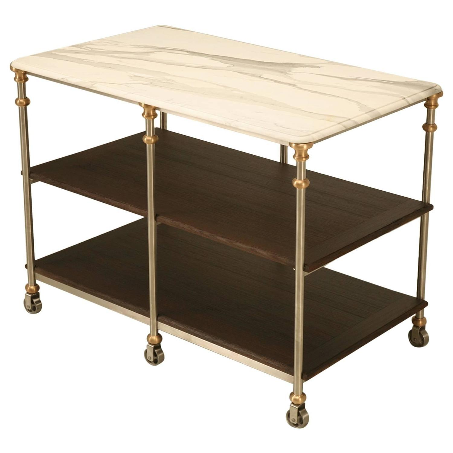 Old Plank Kitchen Island In Stainless And Bronze For Sale