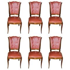 Suite of Six French Art Deco Mahogany Dining Chairs by Rafael, circa 1940s