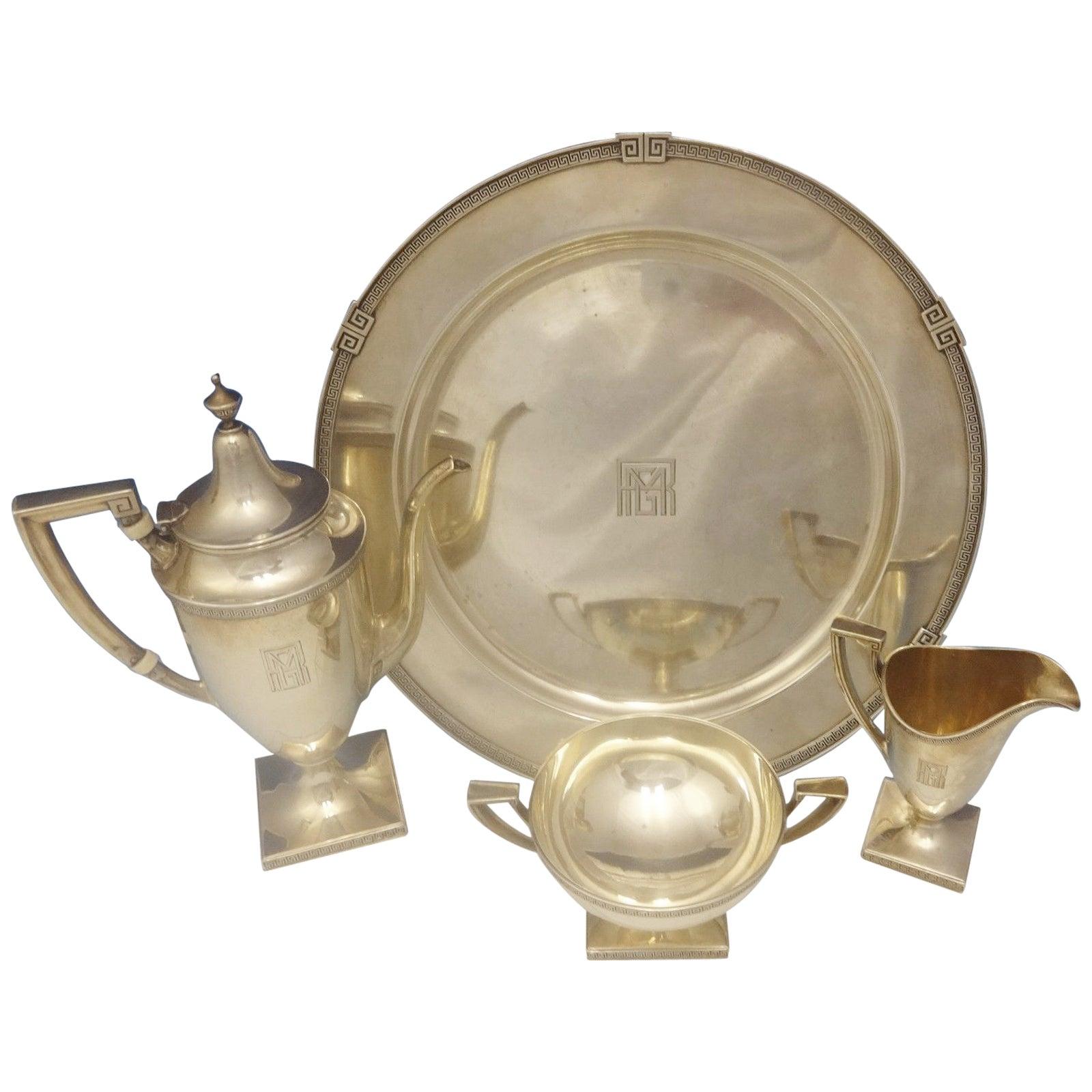 Etruscan by Gorham Sterling Silver Demitasse Tea Set Four-Pieces Hollowware 0366