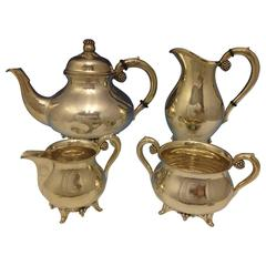 Grann & Laglye Danish Sterling Silver Tea Set of Four Pieces Hollowware
