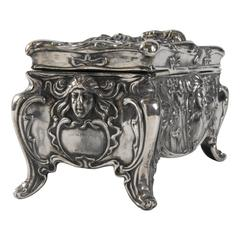 Art Nouveau Jennings Bros USA Jewelry Casket, Silverplated, 1906