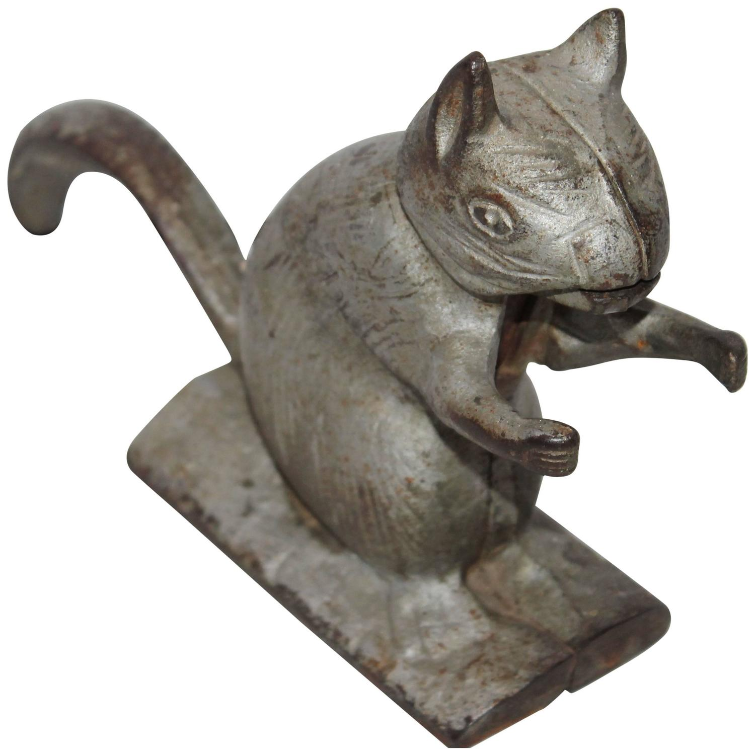 Th century zinc painted cast iron squirrel nut cracker