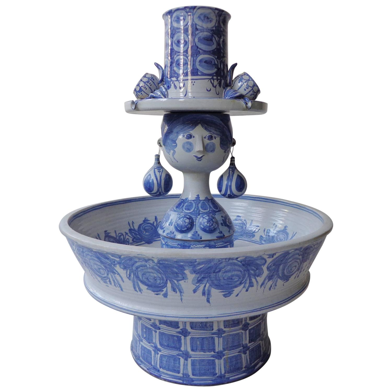 Unique Monumental Fountain By Bjørn Wiinblad In Blue Glaze Ceramic At  1stdibs