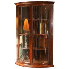 Unusual 18th Century Bow-Fronted, Glazed Walnut Corner Cupboard