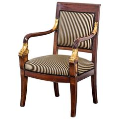 Armchair French 19th Century Mahogany Gilded Details Empire Style France