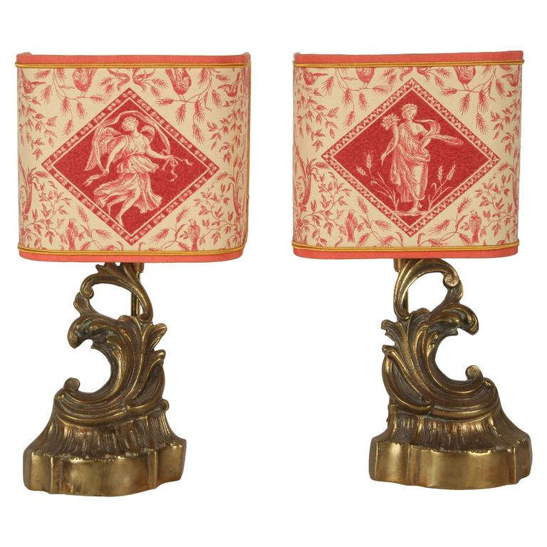 Pair of 19th Century French Andiron Lamps