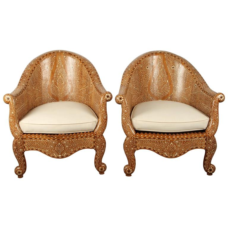 Pair of Inlaid Indian Chairs For Sale  sc 1 st  1stDibs & Pair of Inlaid Indian Chairs at 1stdibs