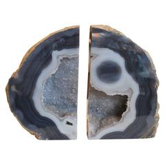 1990s Richly Polished Agate Geode Bookends with Vivid Colors